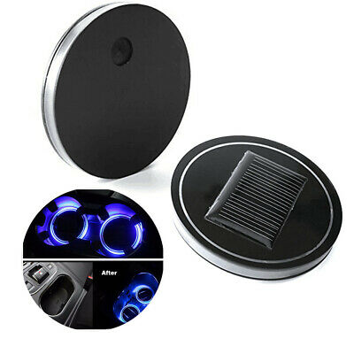 $21.99 • Buy 2x Car Solar Energy Cup Holder LED Light Mat Cup Pad Lamp Blue Parts Accessories