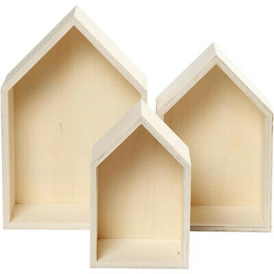 Wooden Storage Shelf Boxes Light Weight Box House Decorate Craft 3 Assorted 5920 • 10.99£