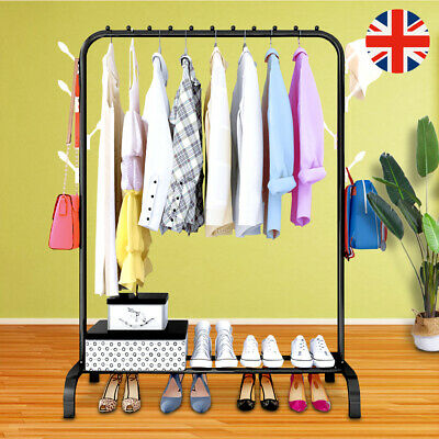 Metal Coat Hat Rack Free Standing Clothes Stand With 18 Hooks & 3 Tier Shoe Rack • 20.82£