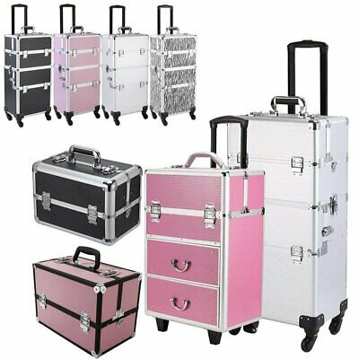 3 In 1 Aluminum Rolling Makeup Train Case Professional Beauty Cosmetic Trolley • 33.69$