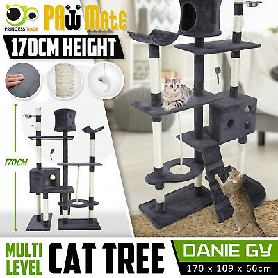 AU94.90 • Buy Cat Tree Scratching Post Scratcher Pole Gym House Furniture Multi Level 170cm GY