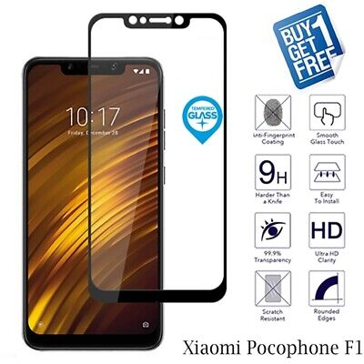 $ CDN6.82 • Buy 2 X For Xiaomi Pocophone F1 Tempered Glass Screen Protector Full 3D Curved Black