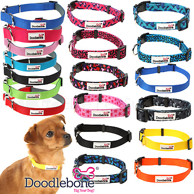 Doodlebone Adjustable Bold Nylon Collars Dog Puppy Durable 12 Colours 5 Sizes • 3.95£
