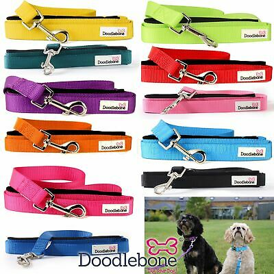Doodlebone Bold Padded Nylon Dog Puppy Walking Leads - 12 Colours To Choose From • 6.90£