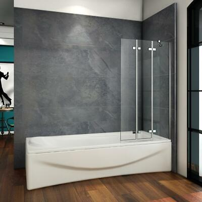 £79.12 • Buy 100x1400mm Hinged 3 Fold Folding Shower Bath Screen Safety Tempered Glass Panel