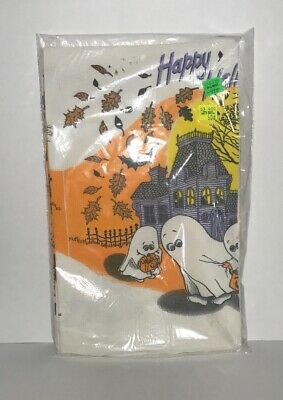 $14.99 • Buy Halloween Paper Table Cover Happy Halloween Ghost Scary House New Sealed