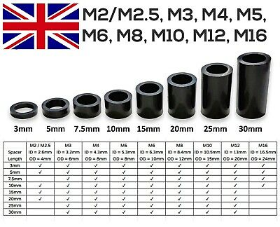 £2.70 • Buy Black Nylon Plastic Spacers Standoff Washer All Sizes M2 To M16 [CHEAPEST]