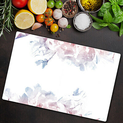 Tempered Glass Worktop Protector Serenity Rose Quartz Floral 80x52 • 44.95£