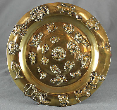 Antique Indian Brass Tray With Applied Deities Animals And Birds • 120£
