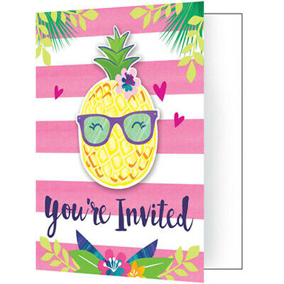 HAWAIIAN LUAU Pineapple And Friends INVITATIONS (8) ~ Party Supplies Stationery • 3.53£