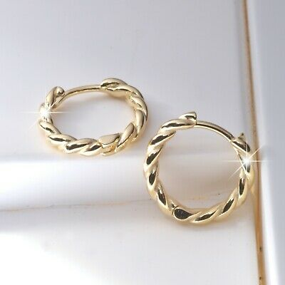 AU29.99 • Buy 18k Yellow Gold Gp REAL Stamped 925 Silver Huggies Kids Earrings Classic Small