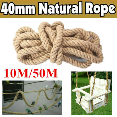 Natural Jute Rope Twisted Braided Decking Garden Boating Sash 40mm Up To 10/50m • 26.79£