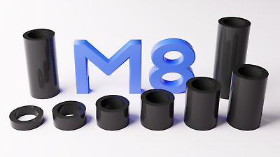 M8 Black Plastic Spacers Standoff Washer Nylon 3mm To 30mm Choice Of Quantity. • 3.30£