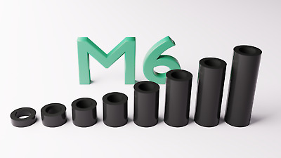 M3 Black Plastic Spacers Standoff Washer Nylon 3mm to 30mm Choice of Quantity.