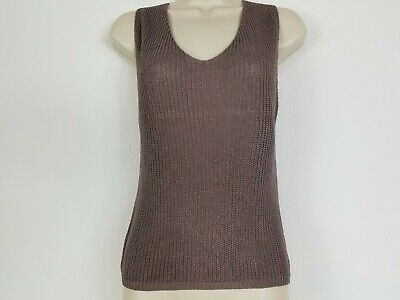 $7.99 • Buy Sans Souci Brown Sleeveless Sweater Top Lace Up Detail On Back Size L