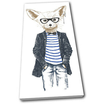 Hipster Animals Fennec Fox Vintage SINGLE CANVAS WALL ART Picture Print • 29.99£