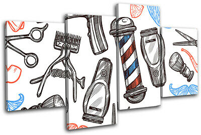 £39.99 • Buy Hipster Male Grooming Barber Shop Urban MULTI CANVAS WALL ART Picture Print