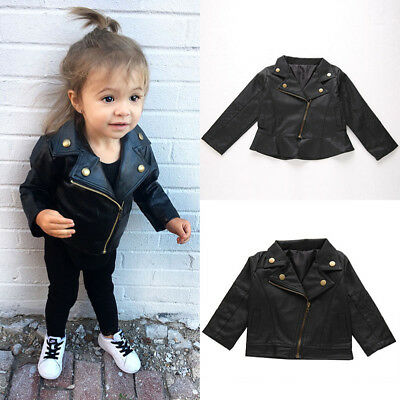 Kids Leather Jackets Jacket Cool Baby Boys Girls Motorcycle Biker Coats Outwear • 17.59£