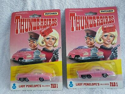 Matchbox Thunderbirds Lady Penelopes Rolls Royce Fab 1 Sealed On Card X 2 Models • 9.99£