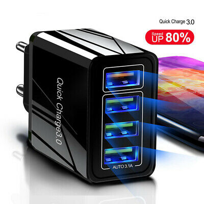 $ CDN6.22 • Buy 4 Port Fast Quick Charge QC3.0 USB Hub Wall Charger Power Adapter US EU Plug