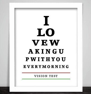 Lovers Eye Chart. A Romantic Print Poster. Optician Glasses Vision Test Sign  • 6.99£