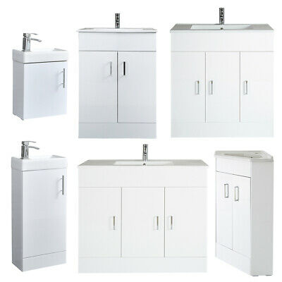 400 600 800 1000mm Bathroom Cloakroom Vanity Unit With Basin - White Grey Oak • 249.99£
