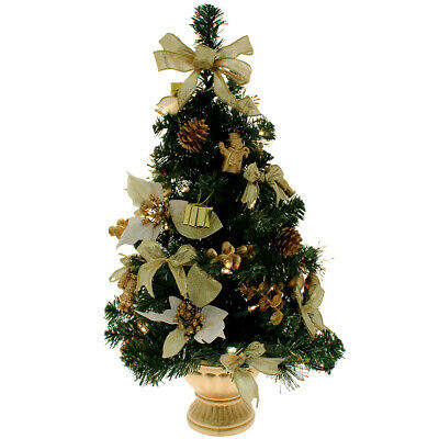 Decorated Table Top Christmas Tree Gold 2ft • 19.99£