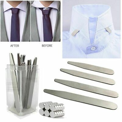 $8.29 • Buy 10 20 Metal Collar Stays Stiffeners & 10 Magnets For Men Shirts 4 Sizes With Box