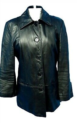 $ CDN50.74 • Buy 02515 Danier Women Coat Jacket Genuine Real Leather Black Size Small Bust 38