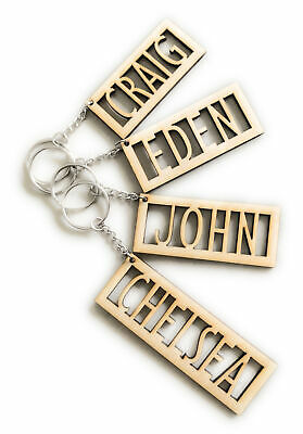 Personalised Wooden Keyring Any Name Engraved Keychain • 2.59£