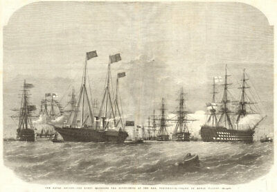 The Naval Review: The Fleet Rounding The Pivot-ships At The Nab, Portsmouth 1856 • 20.99£