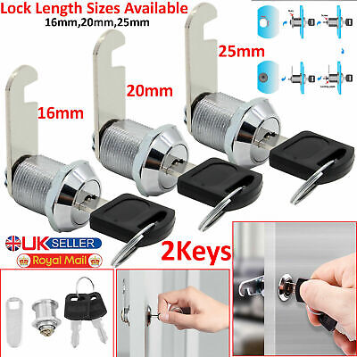 Cam Lock For Door Cabinet Drawer Mailbox Cupboard 16mm 20mm Or 25mm + 2Keys New • 3.58£