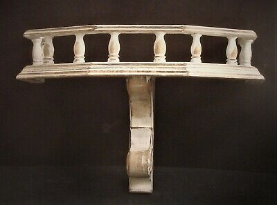 $65 • Buy Pair Shabby Cottage Chic Distressed White Washed Wooden Spindle Rail Shelves