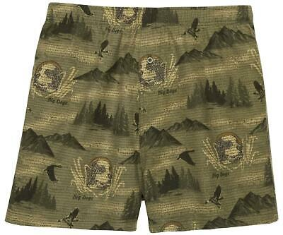 $25.99 • Buy Big Dogs Flannel Boxers Large Duck Hunter 100% Cotton Olive Green 1 Button Fly