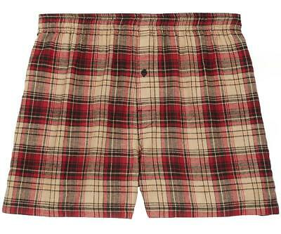 $28.99 • Buy Big Dogs Flannel Boxers 4X Red Khaki Plaid 100% Cotton 1 Button Fly Elastic XXXX