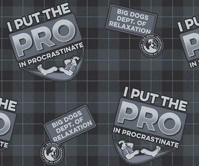 $25.99 • Buy Big Dog Flannel Boxers I Put PRO In Procrastinate XLarge Cotton Button Fly Black