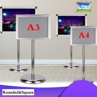 Adjustable Height Custom Floor Display Stand Sign Holder Snap Poster Frame A4 A3 • 18.79£