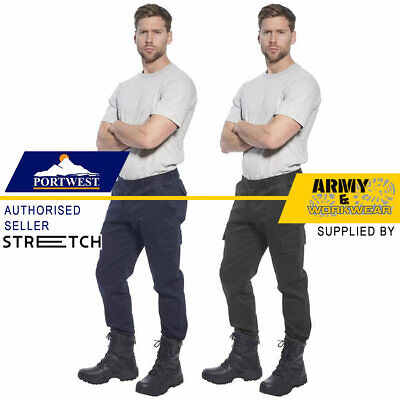 £19.99 • Buy Mens Slim Fit Stretch Combat Cargo Work Trousers 6 Pockets Smart Utility Pants