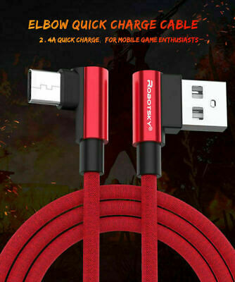 AU5.99 • Buy Braided 90 Degree Right Angle Type C/ Micro USB Fast Data Sync Charger Cable
