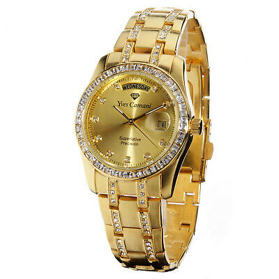 YVES CAMANI Auron Mens Wrist Watch Stainless Steel Gold Plated Day & Date New • 89£