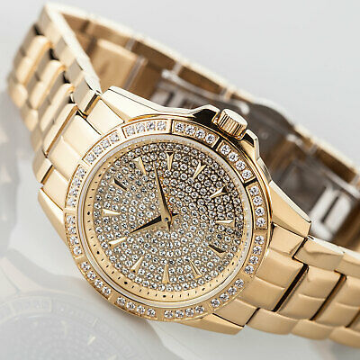 YVES CAMANI GALAURE Womens Watch Gold Plated Stainless Steel Zirconia Crystals • 87.20£