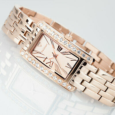 YVES CAMANI AMANCE Womens Watch Stainless Steel Rosegold Zirconia Crystals New • 49£