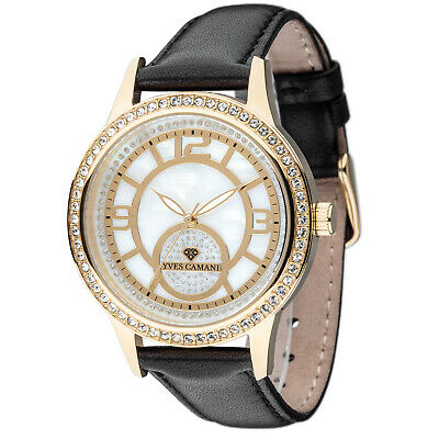 Yves Camani Rouen Womens Watch Stainless Steel Gold Plated Black Leather New • 69£