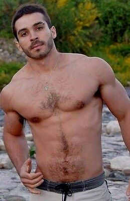 $ CDN4.26 • Buy Shirtless Male Muscular Beefcake Hairy Chest Abs Beard Hunk Dude PHOTO 4X6 D837