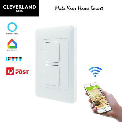AU38.50 • Buy AU Approved Smart Home 2 Gang WiFi Light Switch For Google Home Alexa APP Remote