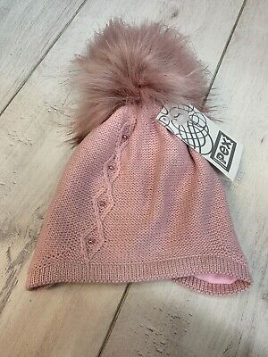 Baby Girl, Spanish, Romany, Dusky Pink Faux Fur Pom Pom Lined Hat 6-12 Months • 9.99£