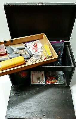 $ CDN128.55 • Buy Antique Tackle Box With Vintage Lures Hooks Fishing Weights & More Made In USA