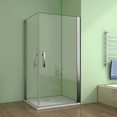 Frameless Pivot Shower Enclosure 6mm Tempered Glass Double Door Cubicle &tray • 153.99£
