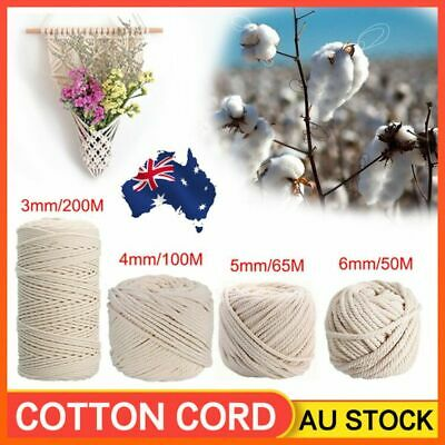AU13.99 • Buy 3/4/5/6mm Macrame Rope Natural Beige Cotton Twisted Cord Artisan Hand Craft AU