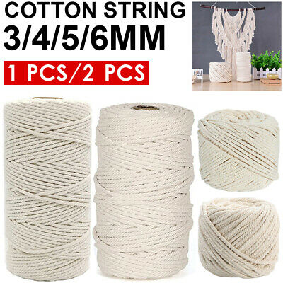 AU14.29 • Buy 3/4/5/6mm Macrame Rope Natural Beige Cotton Twisted Cord Artisan Hand Craft AU